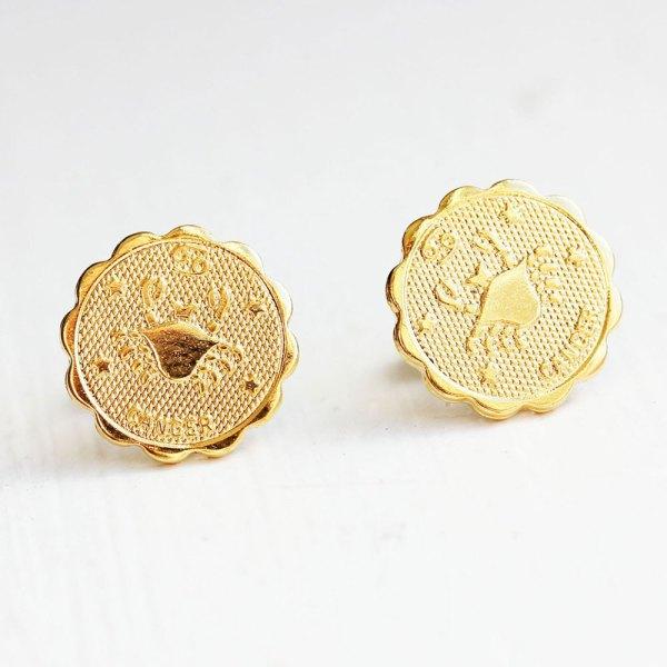 Cancer Gold Stud Earrings