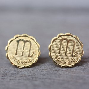 Scorpio Gold Stud Earrings