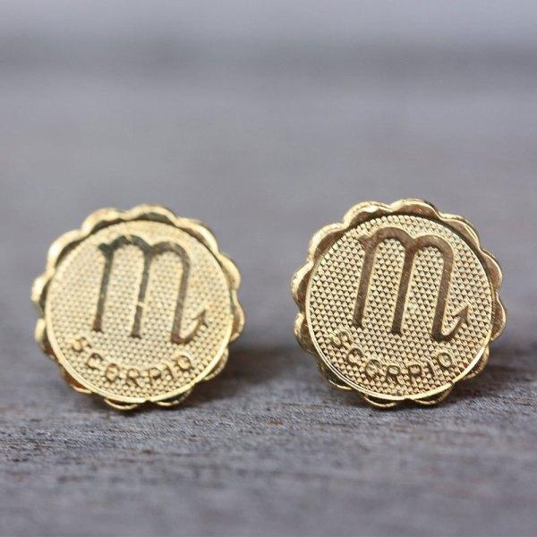 Scorpio Gold Stud Earrings
