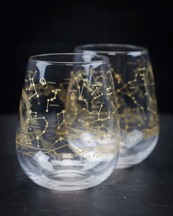 Northern Hemisphere Night Sky Stemless Wine Glasses Empty