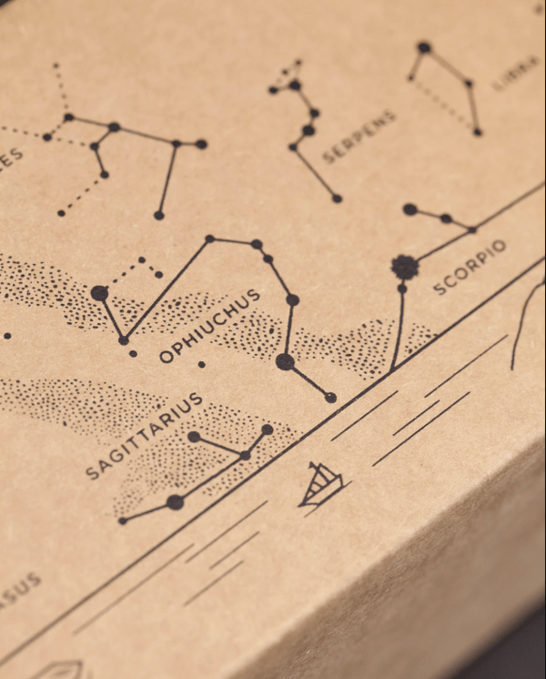 Star Chart Lowball Box Closeup