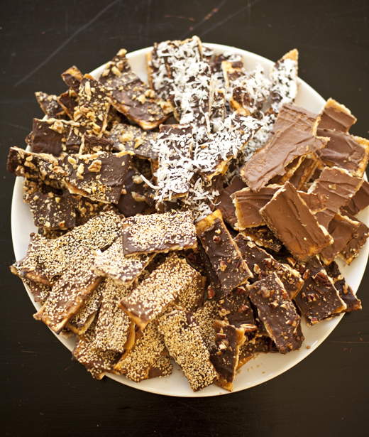 A platter of chocolate caramel matzo with a variety of toppings | Photo by Zoë François