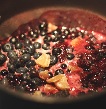 Simmering blueberry sauce | ZoëBakes | Photo by Zoë François