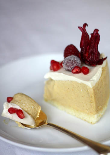 Bourbon Pumpkin Cheesecake with Sugared Cranberries Recipe | ZoëBakes | Photo by Zoë François