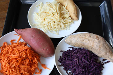 Grated sweet potatoes and yams | Comparing sweet potatoes and yams in the sweet potato vs yam debate