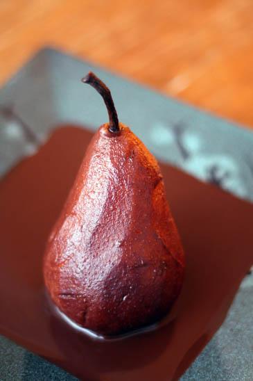 Chocolate Poached Pears Recipe | ZoëBakes | Photo by Zoë François