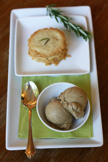 Coffee ice cream with rosemary shortbread recipe | ZoëBakes | Photo by Zoë François