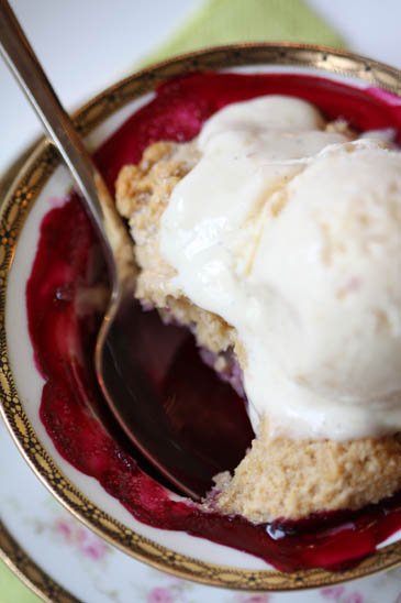 Blueberry Cobbler with White Peach Ice cream | ZoëBakes | Photo by Zoë François