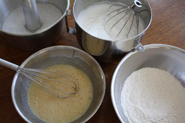 Whisking ingredients for chiffon cake | ZoëBakes | Photo by Zoë François