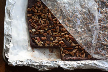 Fudge with pecans after 3 hours in the refrigerator