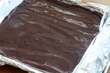 How to make fudge: fudge mixture spread evenly into the prepared pan.