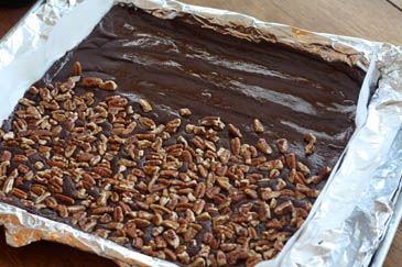 Fudge mixture topped with pecans.