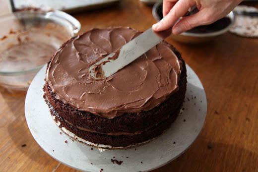 Assembling Chocolate Blackout Cake | Photo by Zoë François