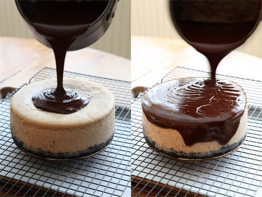 Pouring chocolate glaze over cheesecake | ZoëBakes | Photo by Zoë François