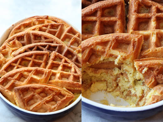Waffles baked into waffle bread pudding | photo by Zoë François