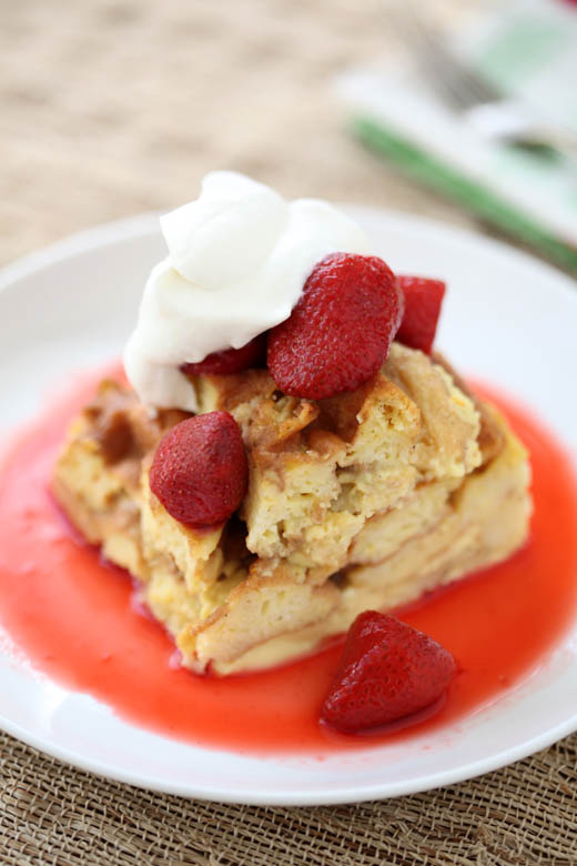 Waffle bread pudding with strawberry sauce and whipped cream | photo by Zoë François