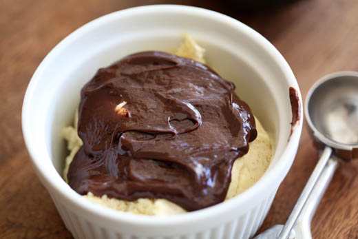 Roasted banana ice cream with chocolate ganache