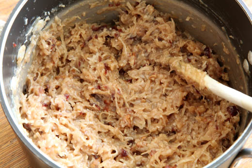 Stirring ingredients for coconut cake filling | ZoëBakes | Photo by Zoë François
