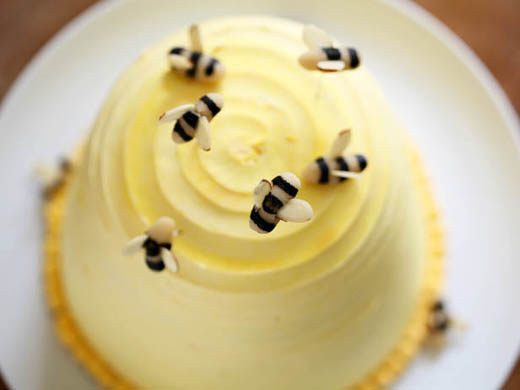 Marzipan bees on beehive cake | ZoeBakes | Photo by Zoë François