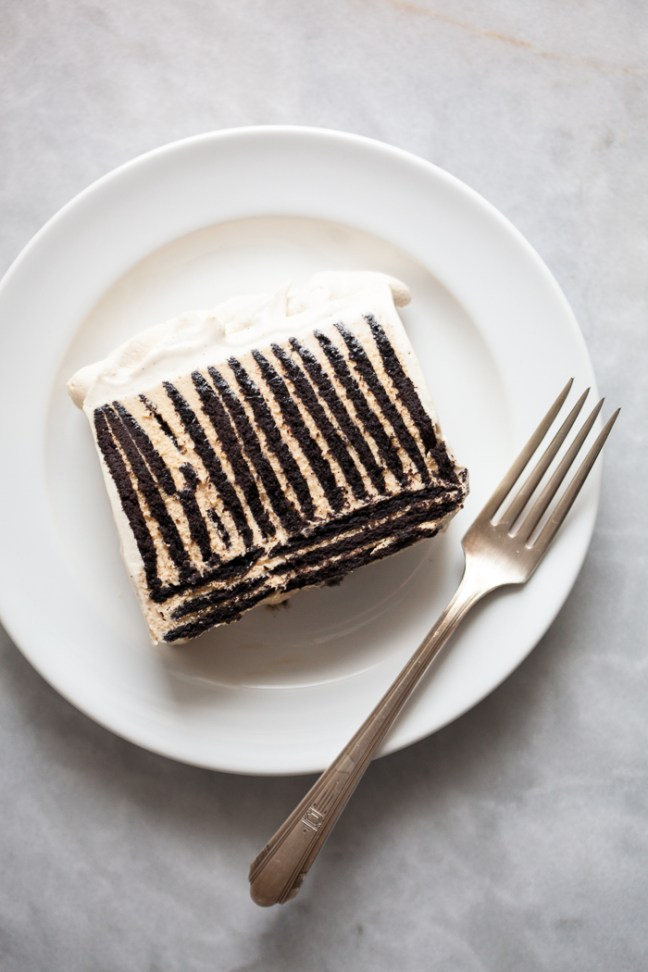 icebox cake with homemade chocolate wafers and caramel cream | ZoeBakes photo by Zoë François