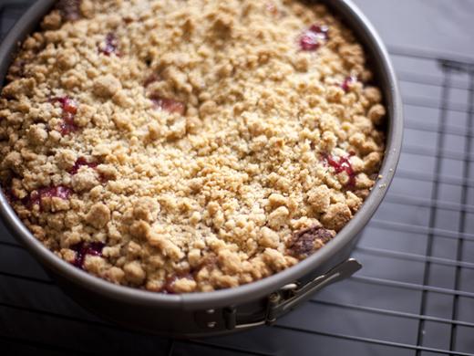 Crumb topping on plum cake | ZoëBakes | Photo by Zoë François