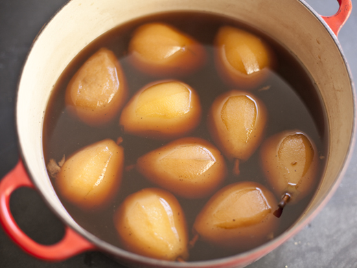 Pears in poaching liquid | ZoëBakes | Photo by Zoë François