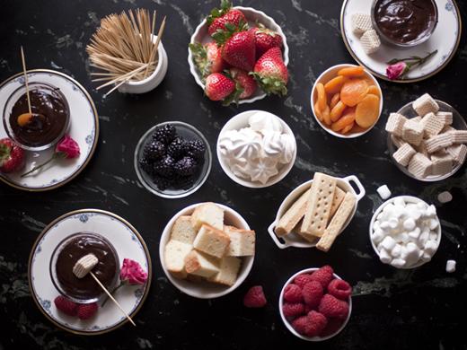 Chocolate fondue spread | ZoëBakes | Photo by Zoë François