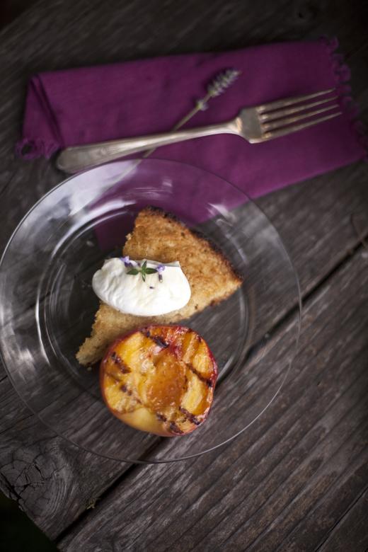 Slice of cornbread with grilled peach | ZoëBakes | Photo by Zoë François