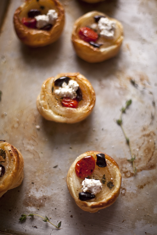 Onion Tarts with Cherry Tomatoes, French Olives and Feta Recipe | ZoëBakes | Photo by Zoë François
