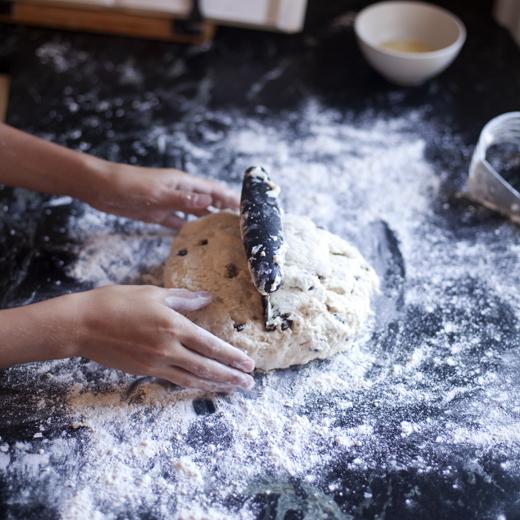 Dividing Scone Dough in Half | ZoëBakes | Photo by Zoë François