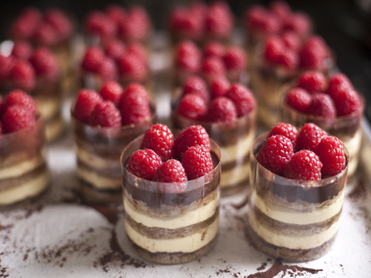 Tray of Tiramisu Topped With Raspberries | photo by Zoë François