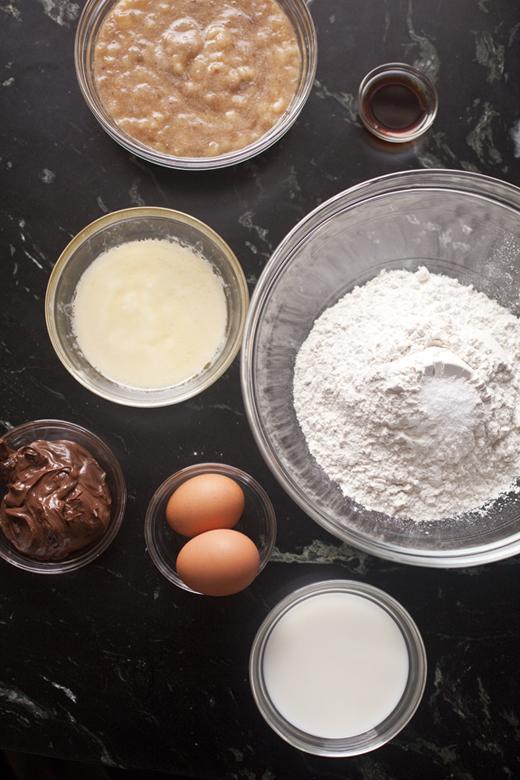 Nutella Swirled Banana Bread recipe - ingredients | photo by Zoë François