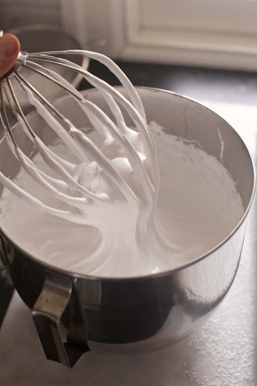 Marshmallow fluff in mixing bowl with whisk attachment | how to make homemade marshmallows | photo by Zoë François