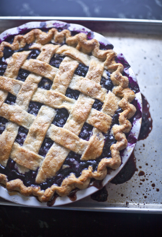 Blueberry Pie Recipe - fully baked, golden brown blueberry pie | photo by Zoë François