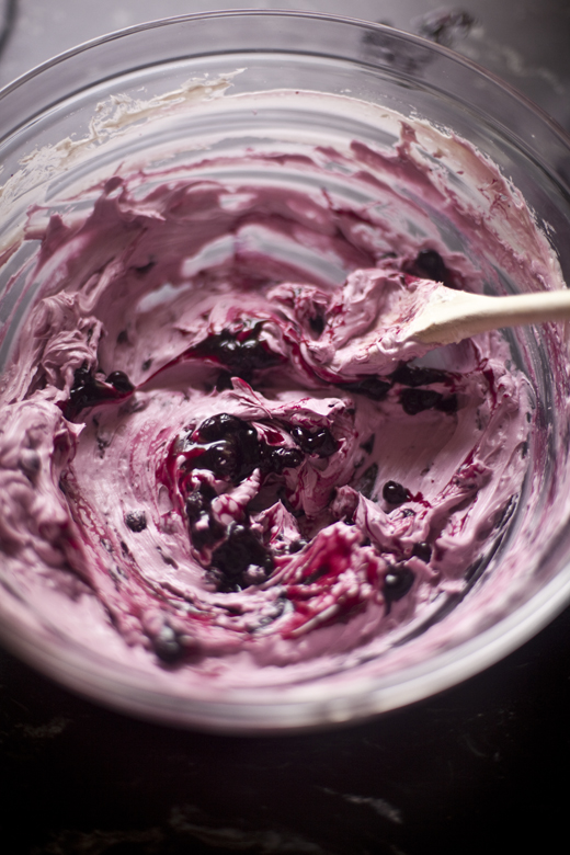 Blueberry sauce mixed into the icing for Layered Blueberry Cake recipe | photo by Zoë François