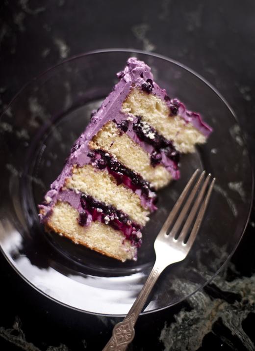 A slice of layered blueberry cake | photo by Zoë François