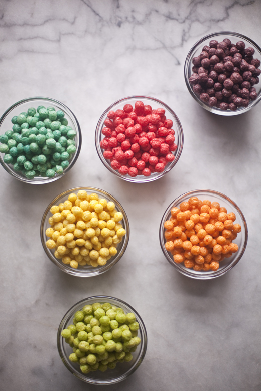Trix cereal divided by color into small bowls | ZoëBakes | Zoë François