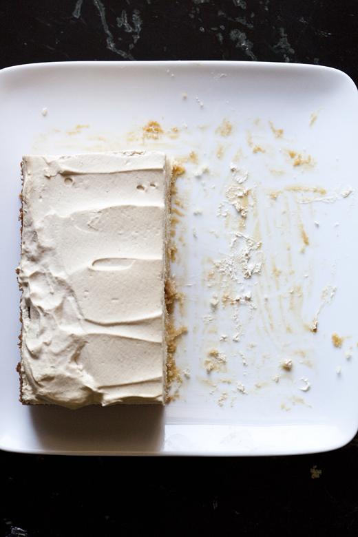 Slice of coffee caramel Tres Leches | ZoëBakes | Photo by Zoë François