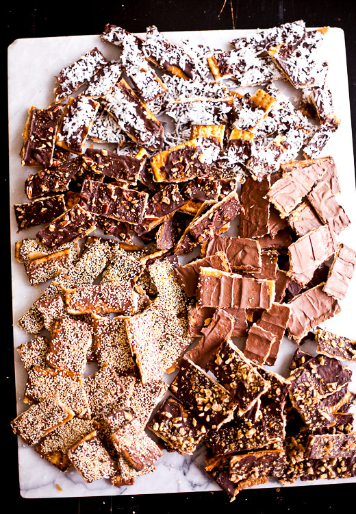 Chocolate Caramel Matzo with a Variety of Toppings | Photo by Zoë François