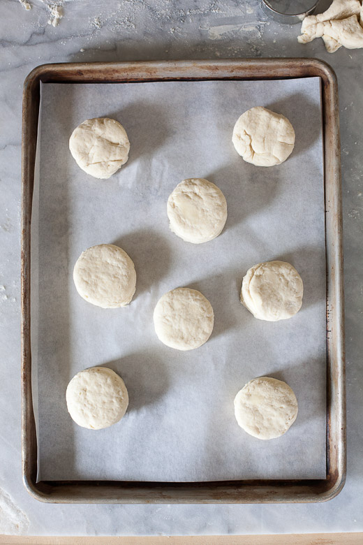 How to Make Flaky Biscuits | Biscuits on a lined baking sheet