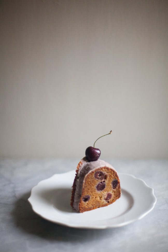 A Slice of Cherry Olive Oil Cake | photo by Zoë François