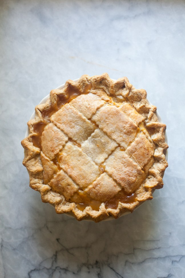 peach pie with lattice crust on ZoeBakes. Photo by Zoe Francois
