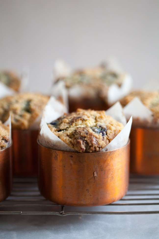 Giant Blueberry Muffins Baked in Copper Souffle Molds