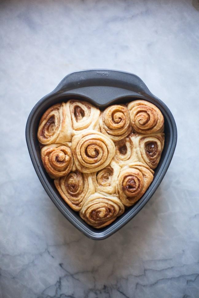 Cinnamon Rolls Baked in a Heart-Shaped Pan | ZoeBakes by Zoë François