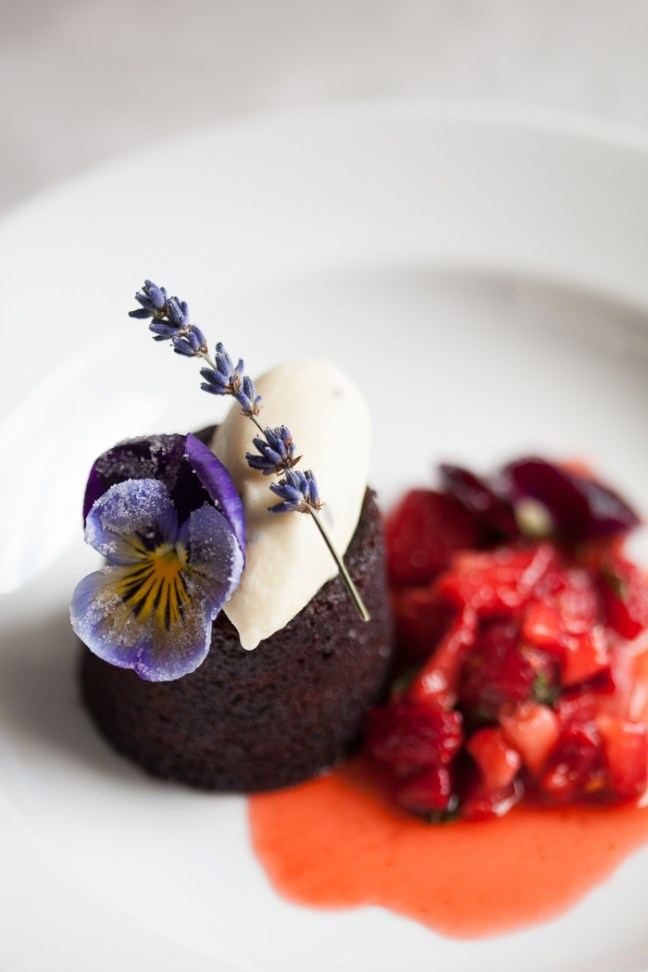 Chocolate Fudge Cake with Candied Flower | ZoëBakes | Photo by Zoë François
