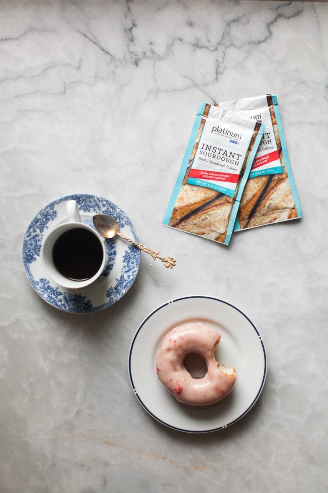 Coffe, Doughnut and Red Star Yeast Packets | ZoëBakes | Photo by Zoë François