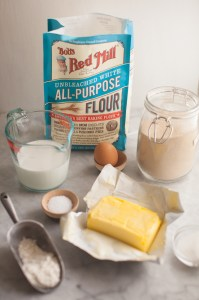 Bob's Red Mill flour and ingredients to make dough