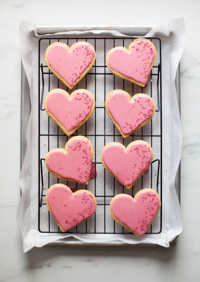 Valentine's Day Sugar Cookies with Blood Orange Glaze | Zoë Bakes