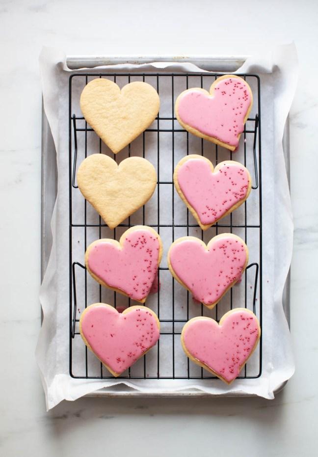 Heart Shaped Sugar Cookies with Blood Orange Glaze | ZoëBakes | Photo by Zoë François