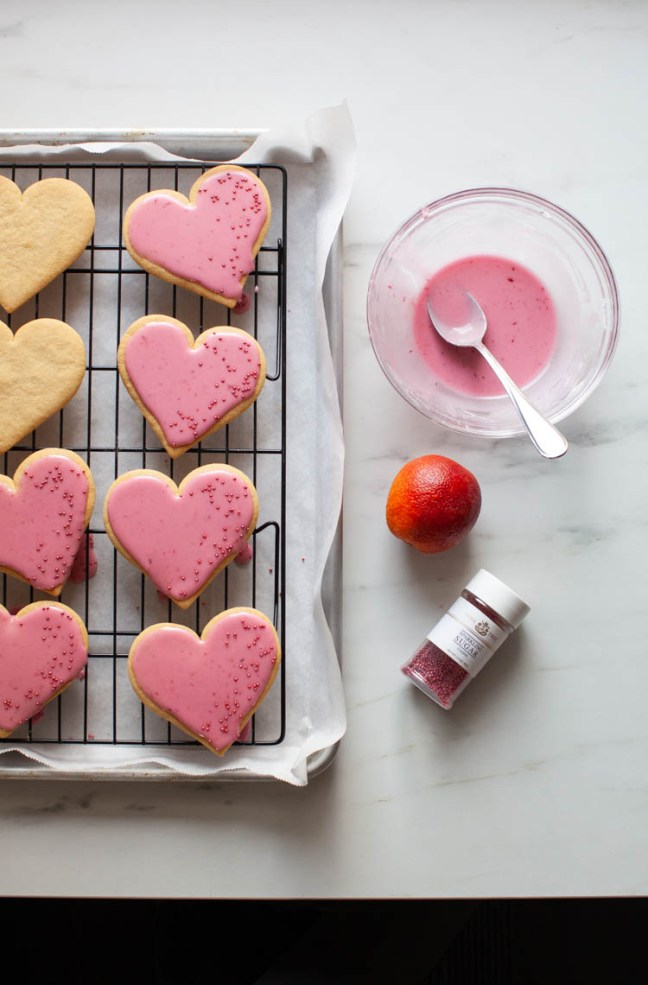 Heart Shaped Cookies with Blood Orange Glaze | ZoeBakes by Zoë François